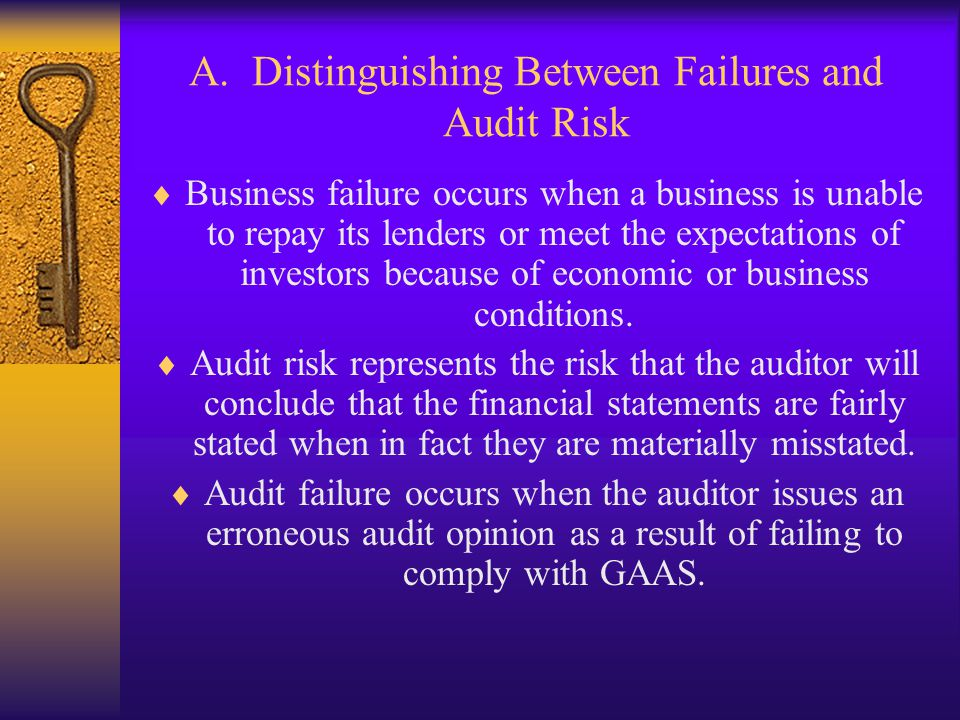 A. Distinguishing Between Failures and Audit Risk