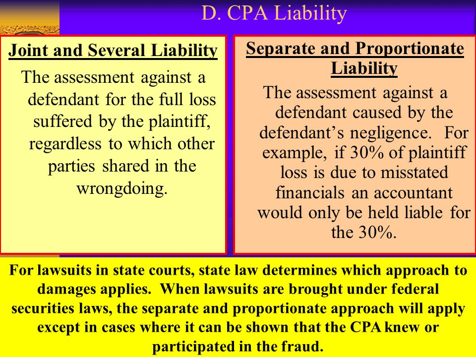 Joint and Several Liability Separate and Proportionate Liability