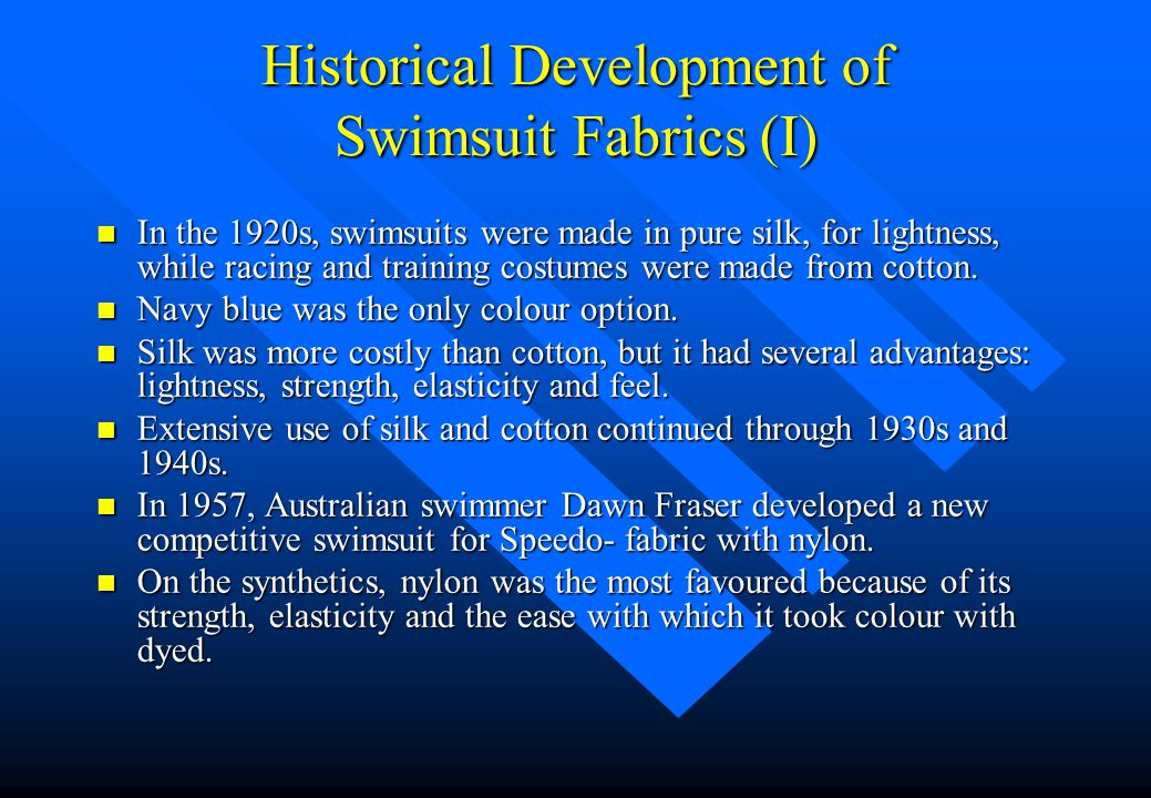 Historical Development of Swimsuit Fabrics (I)