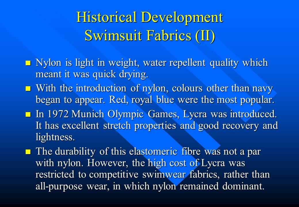 Historical Development Swimsuit Fabrics (II)