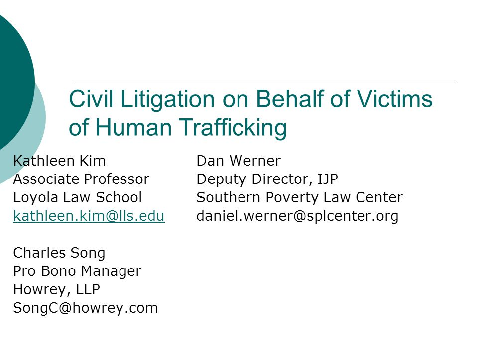 Civil Litigation on Behalf of Victims of Human Trafficking