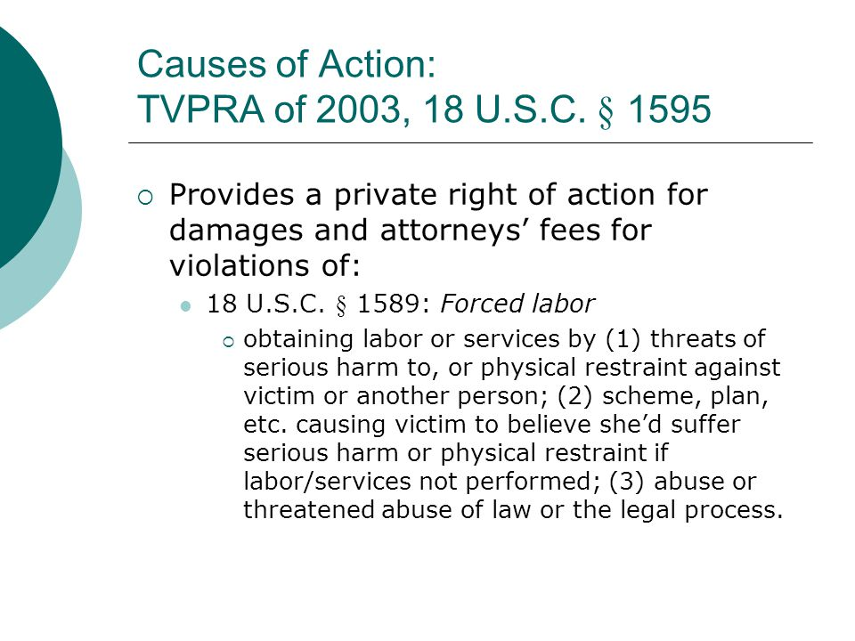 Causes of Action: TVPRA of 2003, 18 U.S.C. § 1595