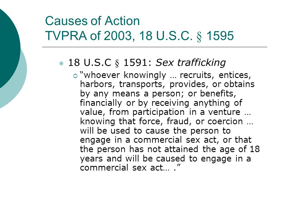 Causes of Action TVPRA of 2003, 18 U.S.C. § 1595