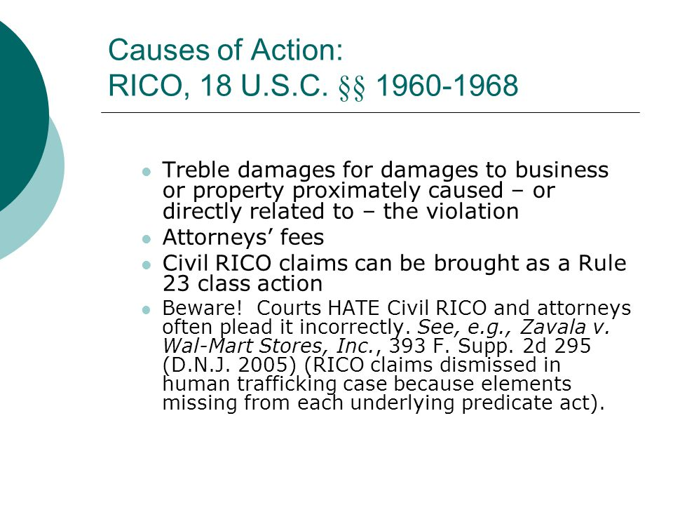 Causes of Action: RICO, 18 U.S.C. §§ 1960-1968
