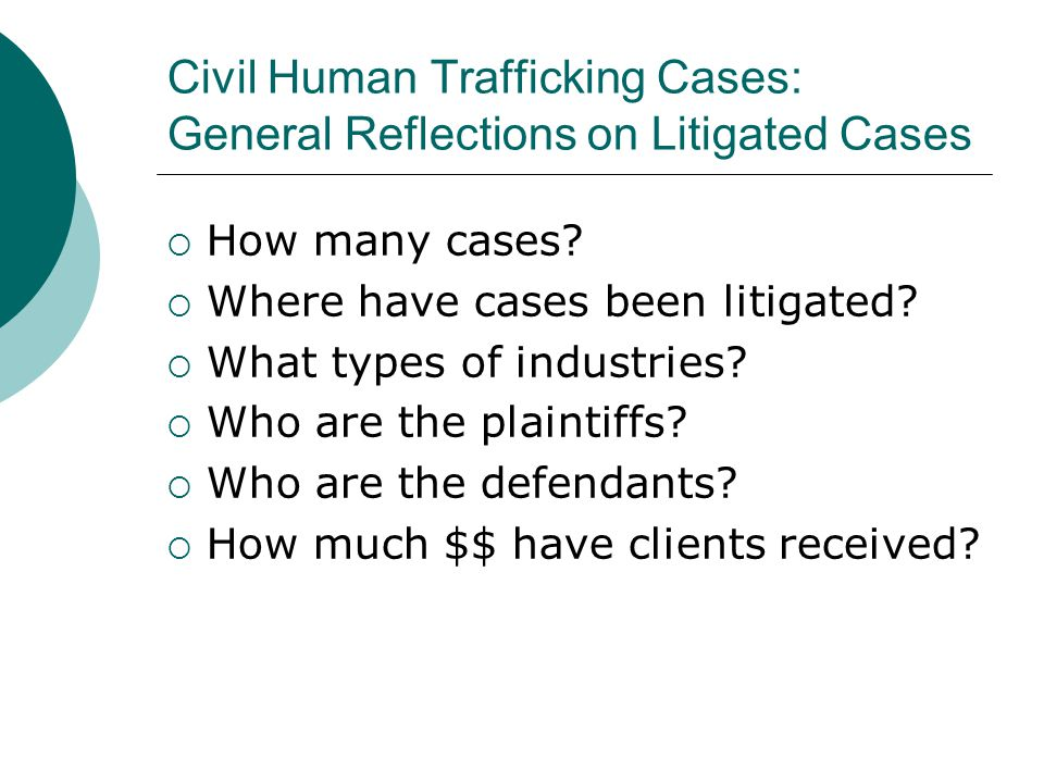 Civil Human Trafficking Cases: General Reflections on Litigated Cases