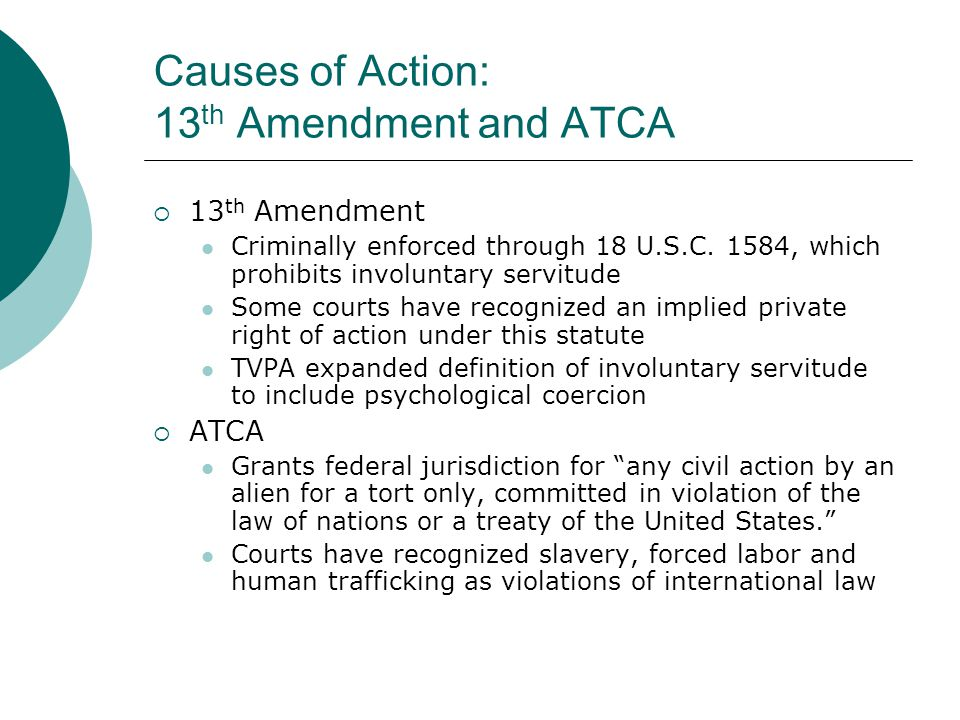 Causes of Action: 13th Amendment and ATCA