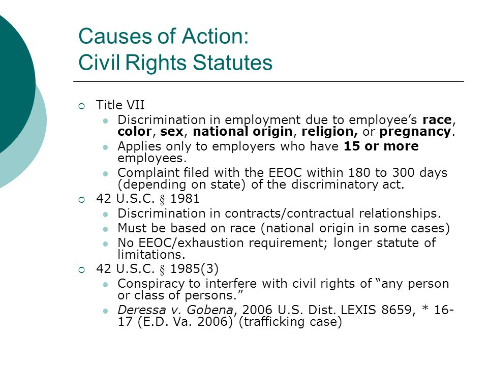 Causes of Action: Civil Rights Statutes