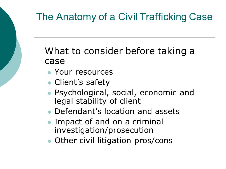The Anatomy of a Civil Trafficking Case