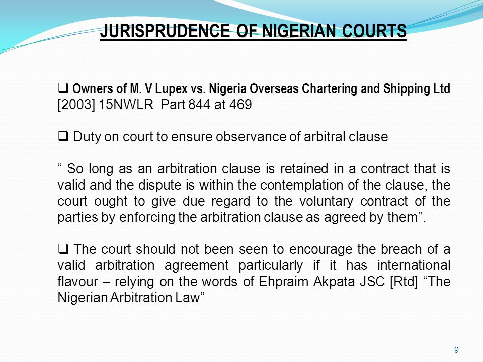 JURISPRUDENCE OF NIGERIAN COURTS