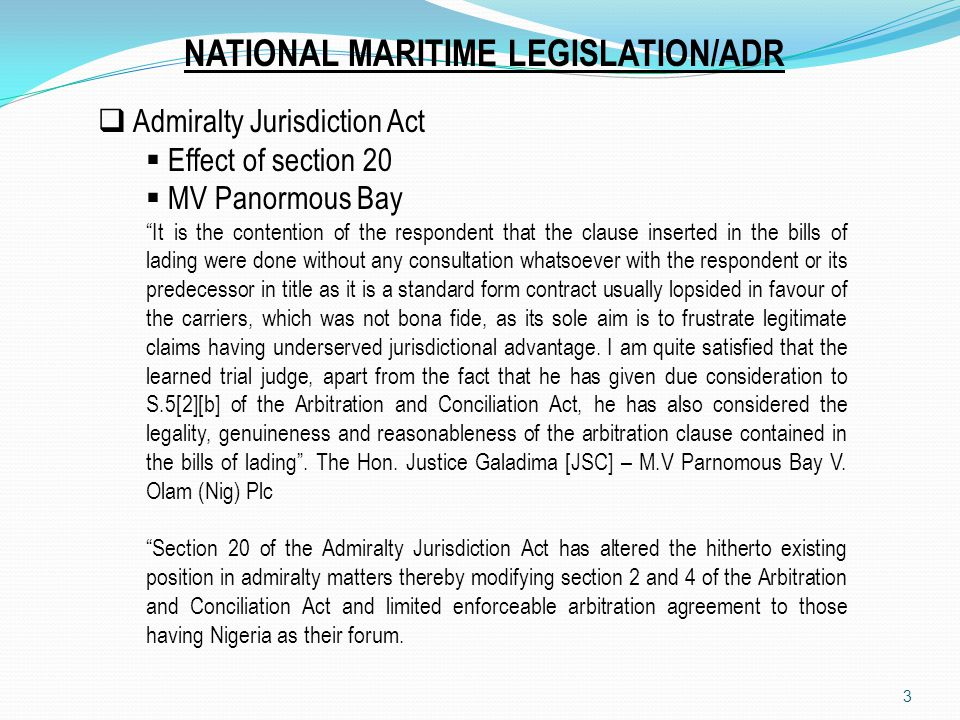 NATIONAL MARITIME LEGISLATION/ADR