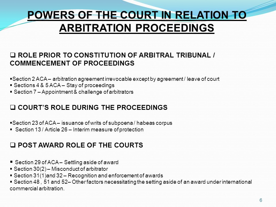 POWERS OF THE COURT IN RELATION TO ARBITRATION PROCEEDINGS