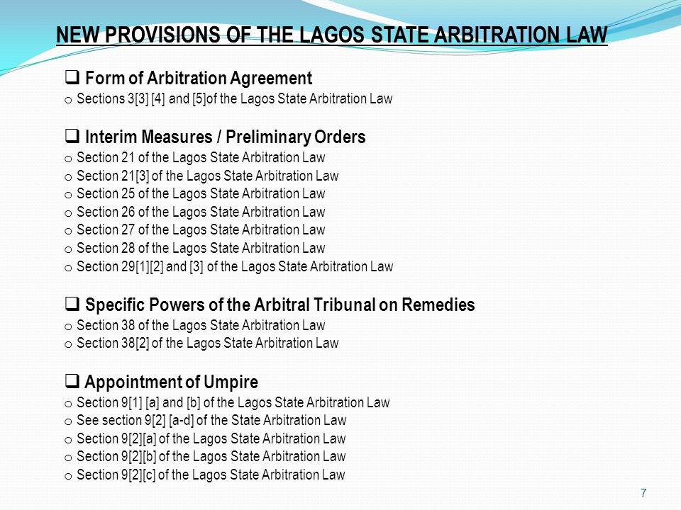 NEW PROVISIONS OF THE LAGOS STATE ARBITRATION LAW