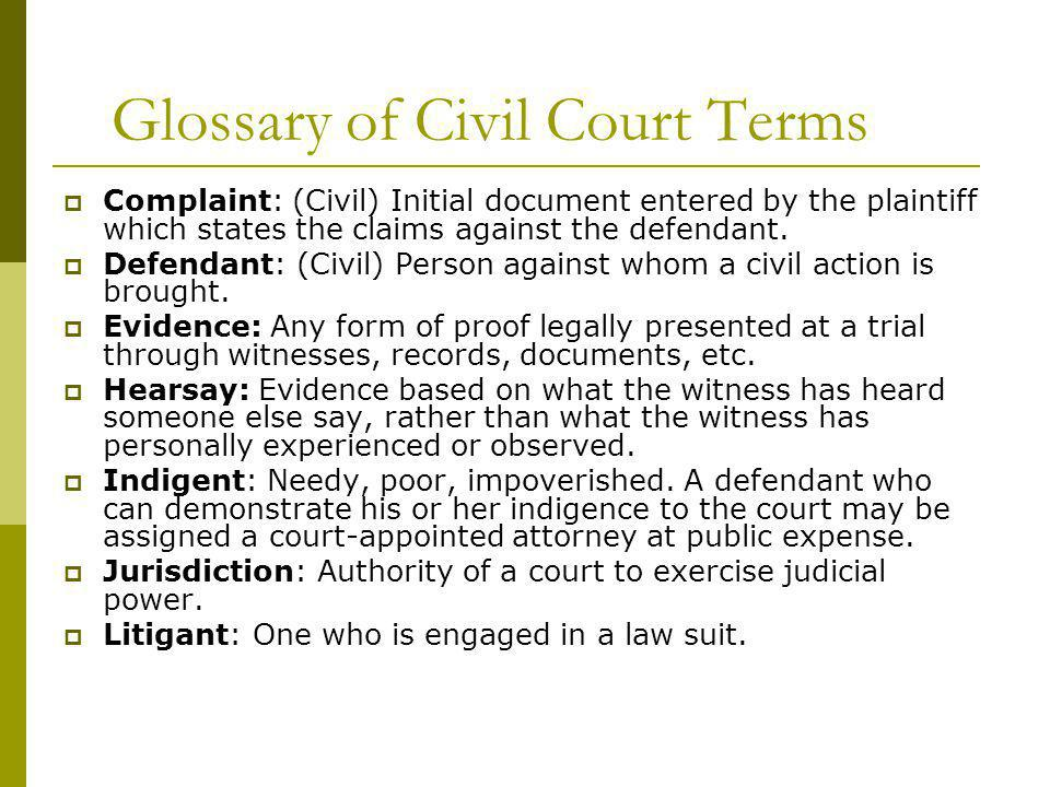 Glossary of Civil Court Terms