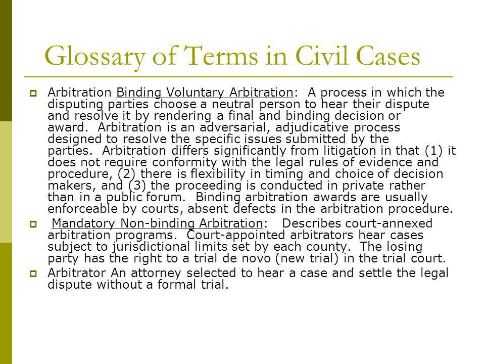Glossary of Terms in Civil Cases