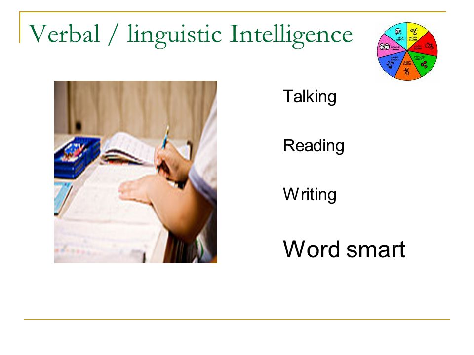 Verbal / linguistic Intelligence