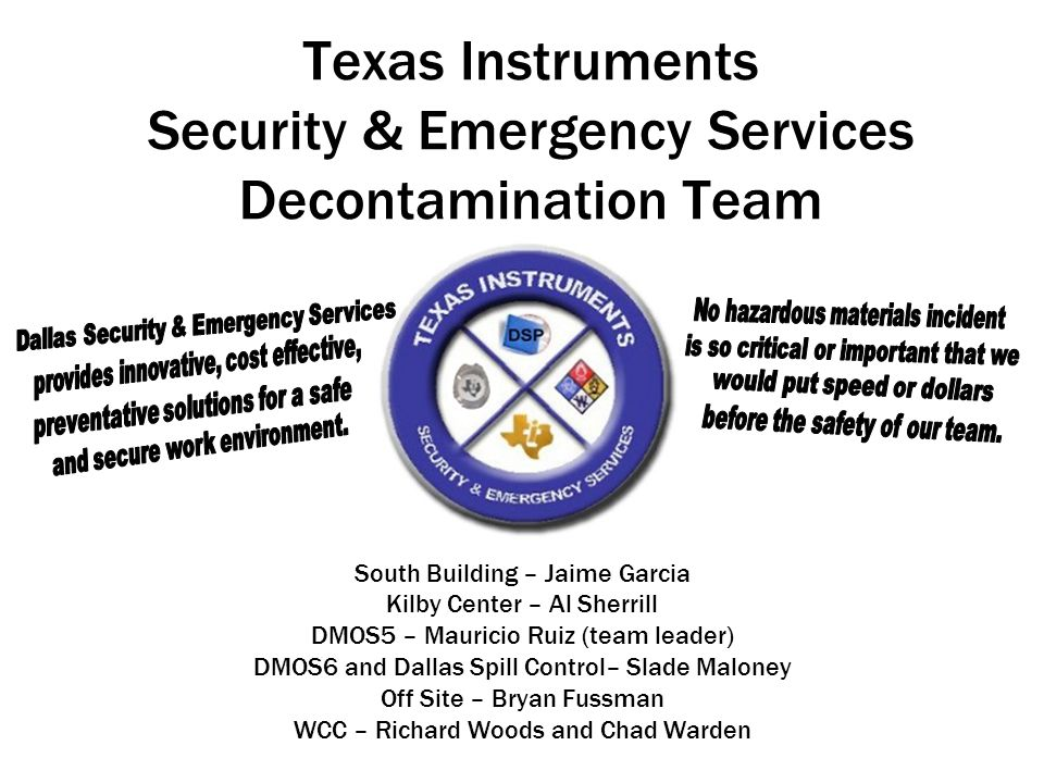 Texas Instruments Security & Emergency Services Decontamination Team