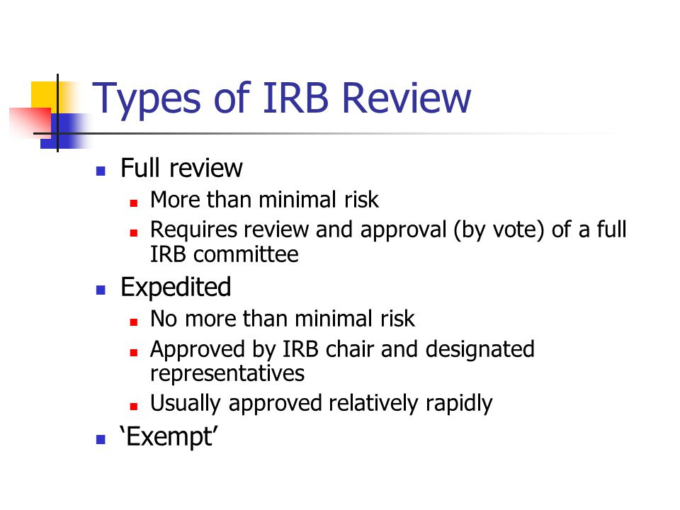 Types of IRB Review Full review Expedited 'Exempt'