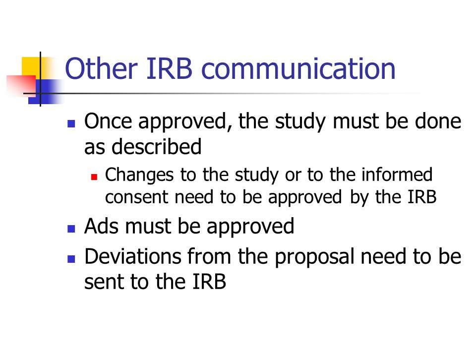 Other IRB communication