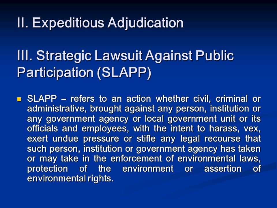 II. Expeditious Adjudication