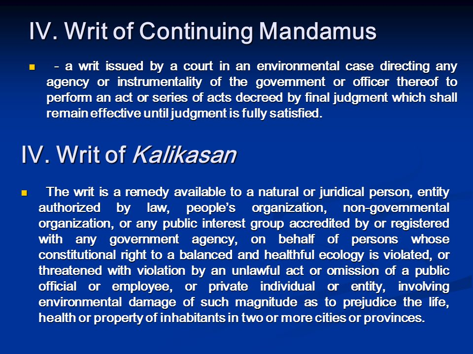 IV. Writ of Continuing Mandamus
