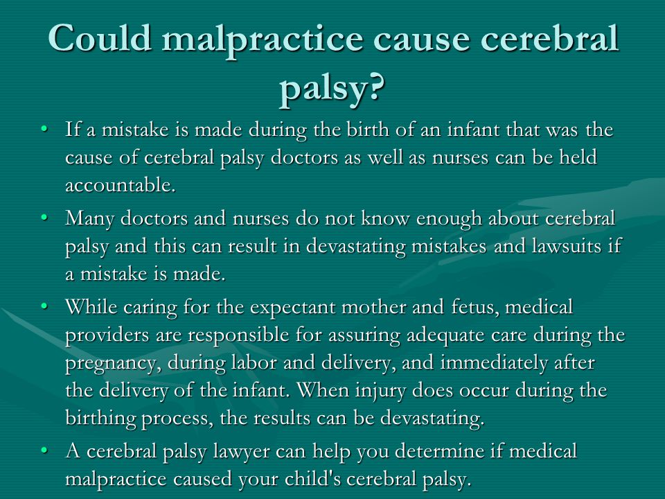 Could malpractice cause cerebral palsy