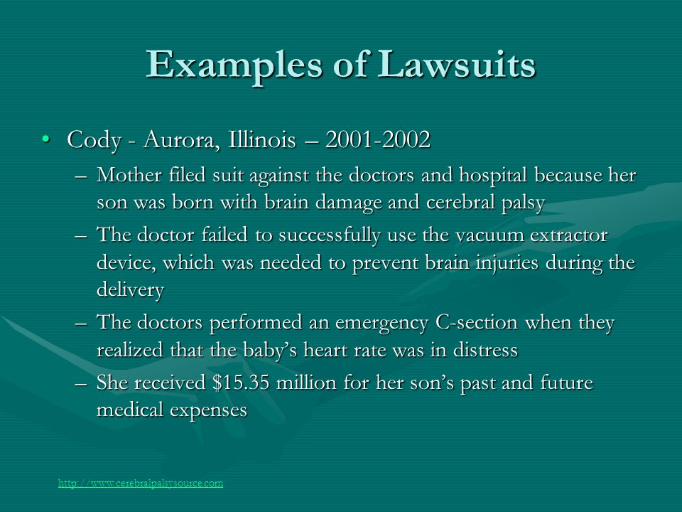 Examples of Lawsuits Cody - Aurora, Illinois – 2001-2002