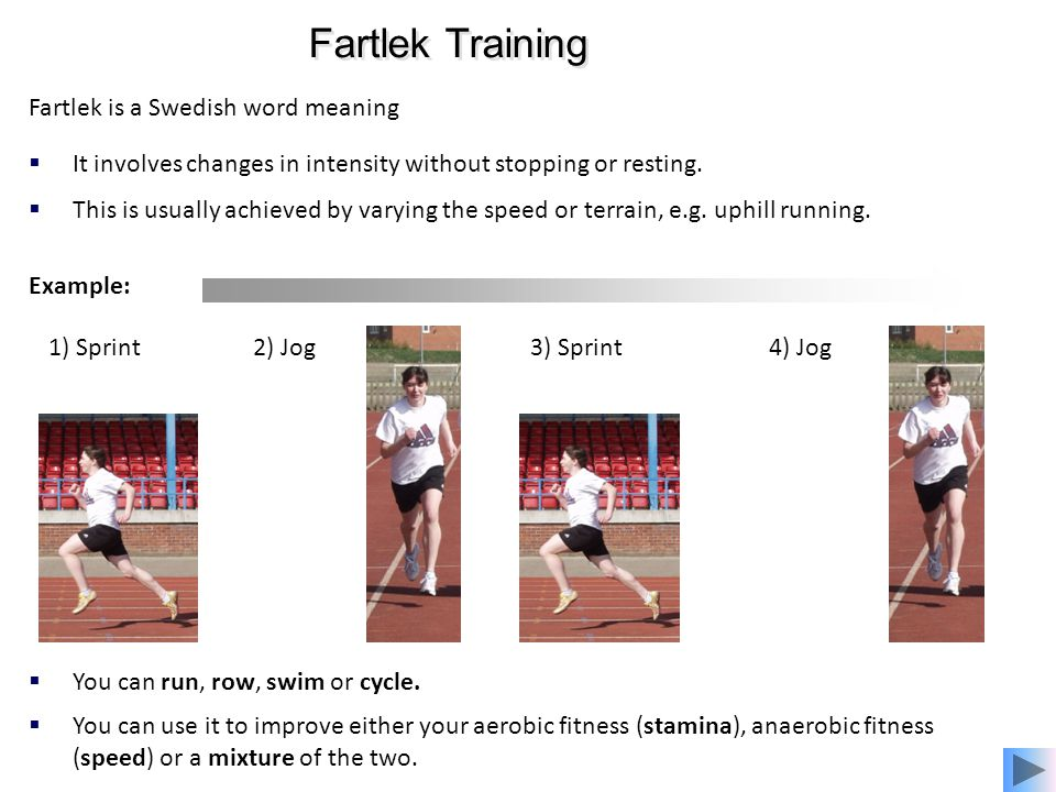Fartlek Training Fartlek is a Swedish word meaning 'speed play'.
