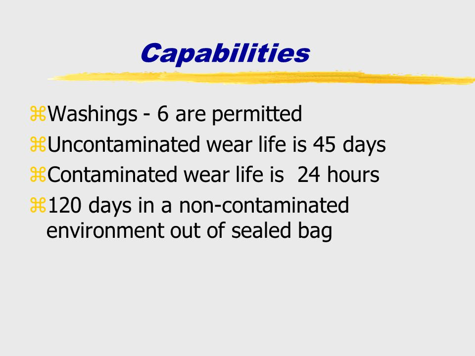 Capabilities Washings - 6 are permitted