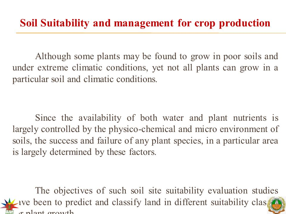 Soil Suitability and management for crop production