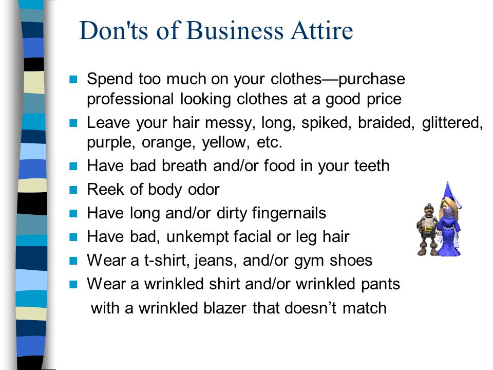 Don ts of Business Attire