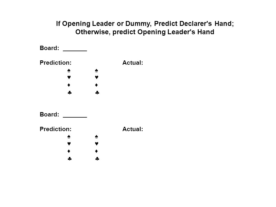 If Opening Leader or Dummy, Predict Declarer s Hand;