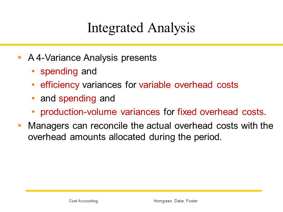 Integrated Analysis A 4-Variance Analysis presents spending and