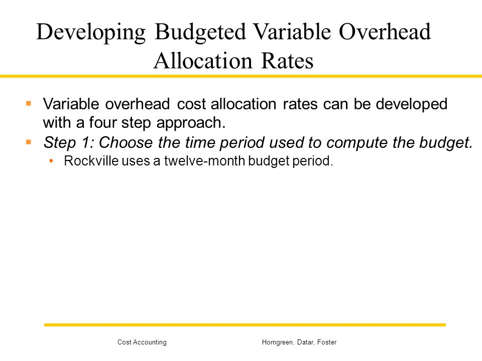 Developing Budgeted Variable Overhead Allocation Rates