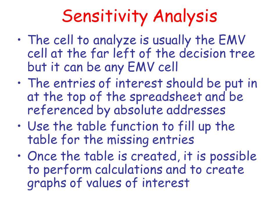 Sensitivity Analysis The cell to analyze is usually the EMV cell at the far left of the decision tree but it can be any EMV cell.
