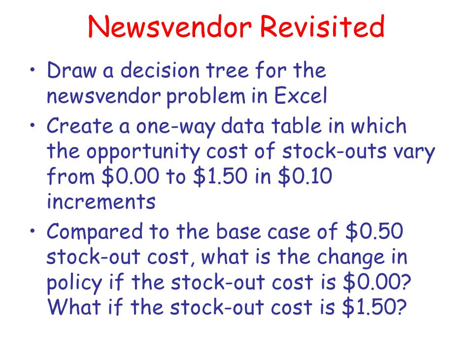 Newsvendor Revisited Draw a decision tree for the newsvendor problem in Excel.