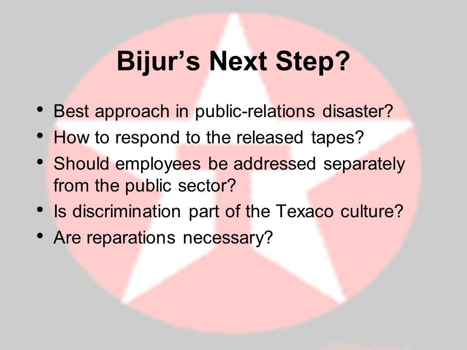 Bijur's Next Step Best approach in public-relations disaster