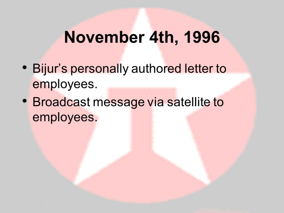 November 4th, 1996 Bijur's personally authored letter to employees.