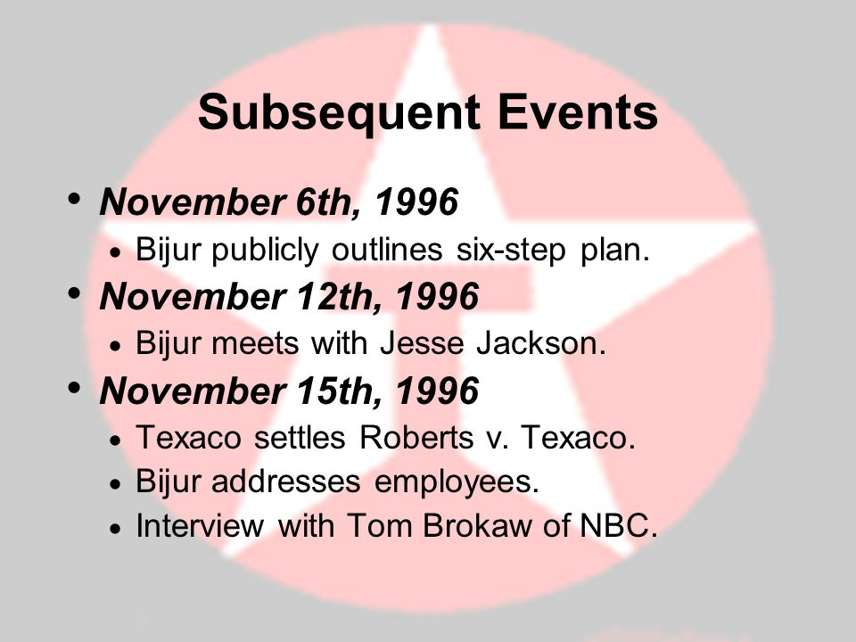 Subsequent Events November 6th, 1996 November 12th, 1996