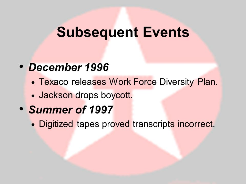 Subsequent Events December 1996 Summer of 1997