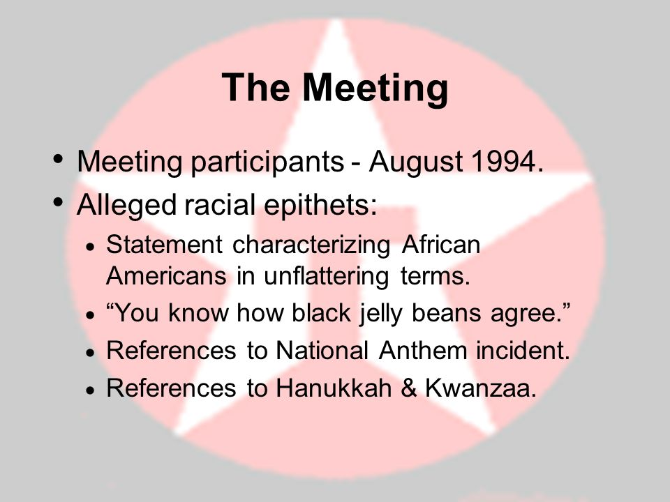 The Meeting Meeting participants - August 1994.