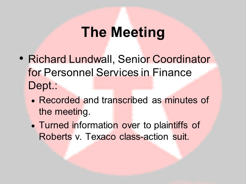 The Meeting Richard Lundwall, Senior Coordinator for Personnel Services in Finance Dept.: Recorded and transcribed as minutes of the meeting.