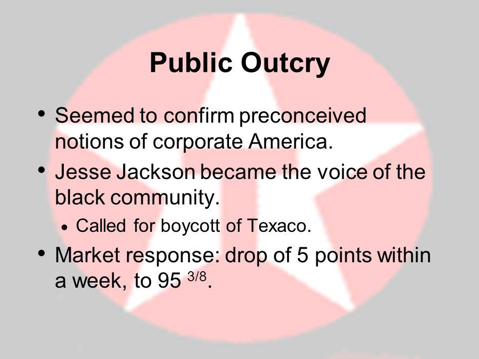 Public Outcry Seemed to confirm preconceived notions of corporate America. Jesse Jackson became the voice of the black community.