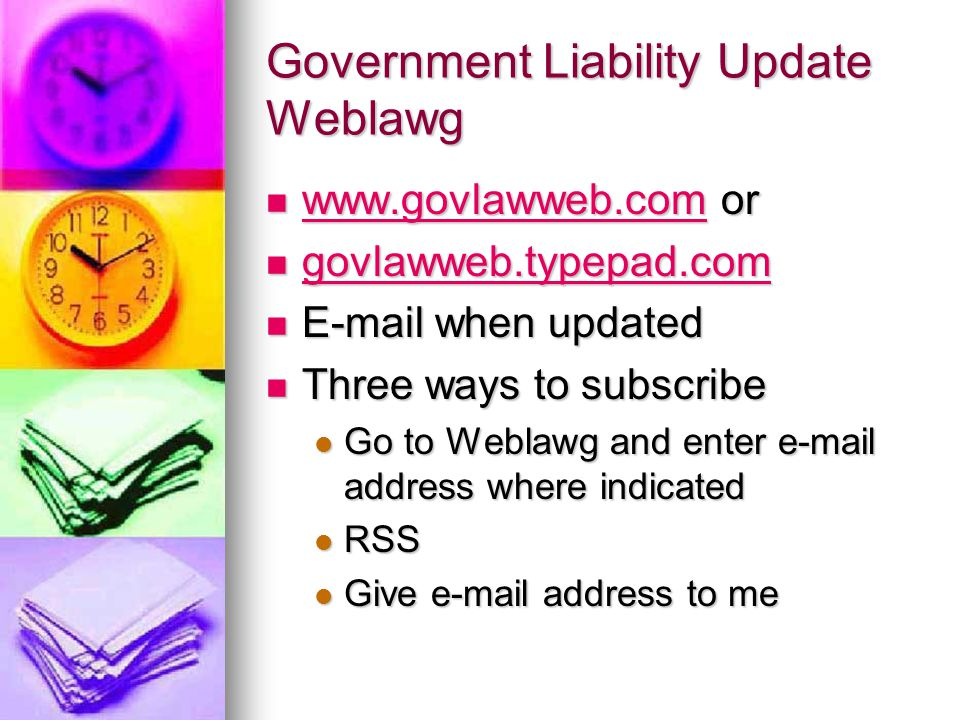 Government Liability Update Weblawg