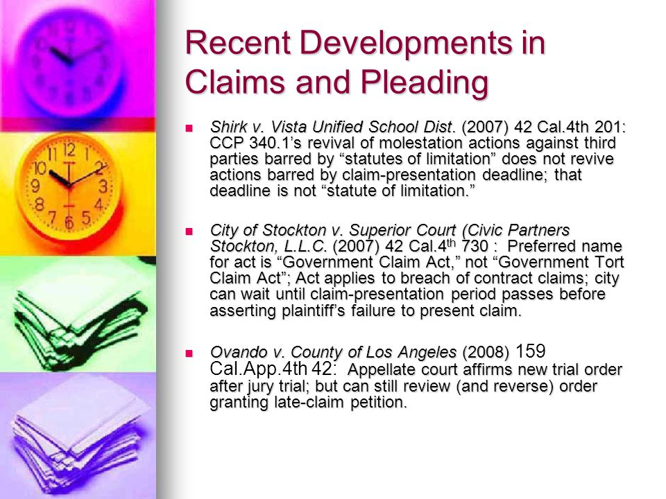 Recent Developments in Claims and Pleading