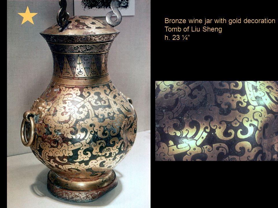 Bronze wine jar with gold decoration