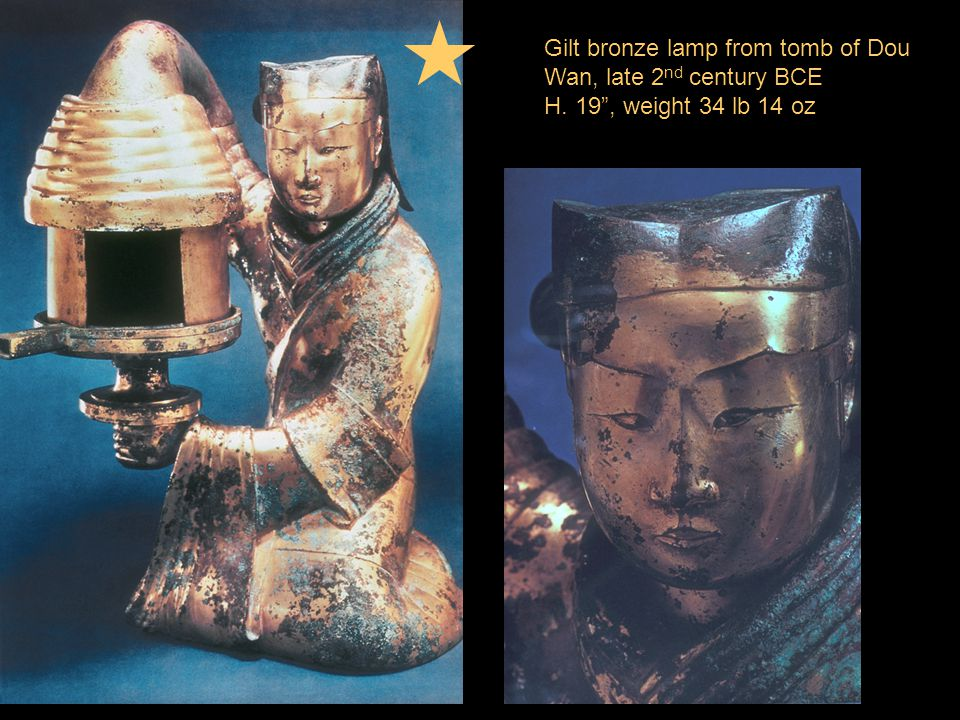 Gilt bronze lamp from tomb of Dou