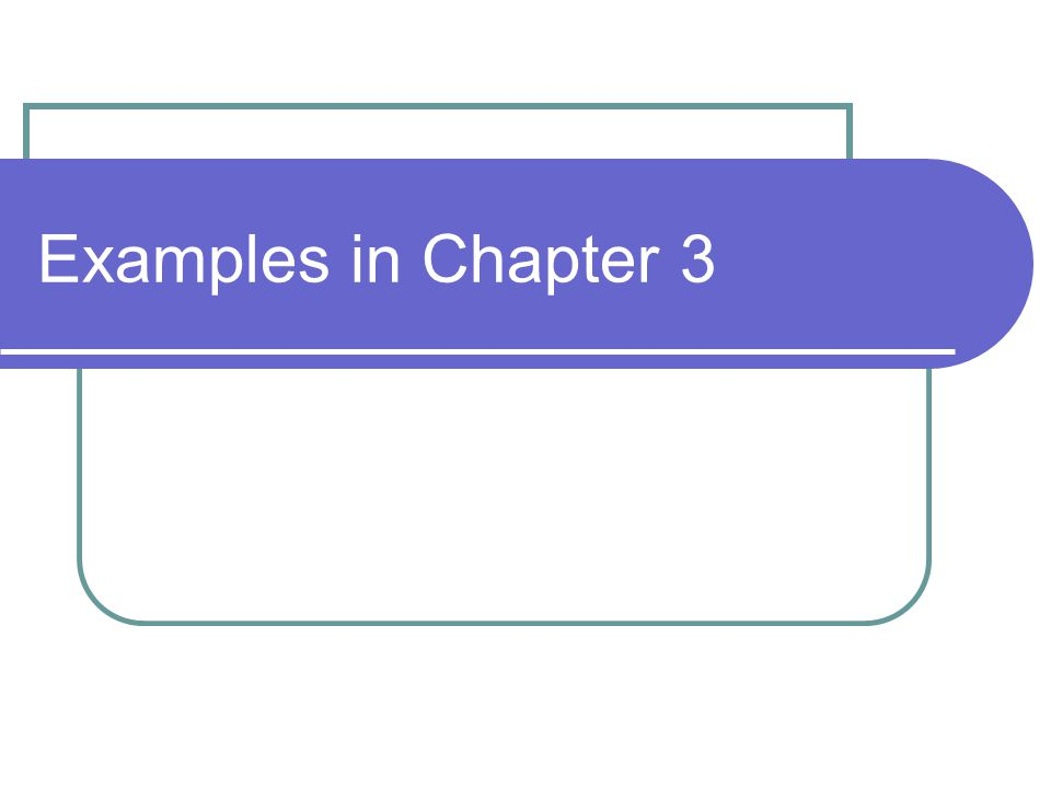 Examples in Chapter 3