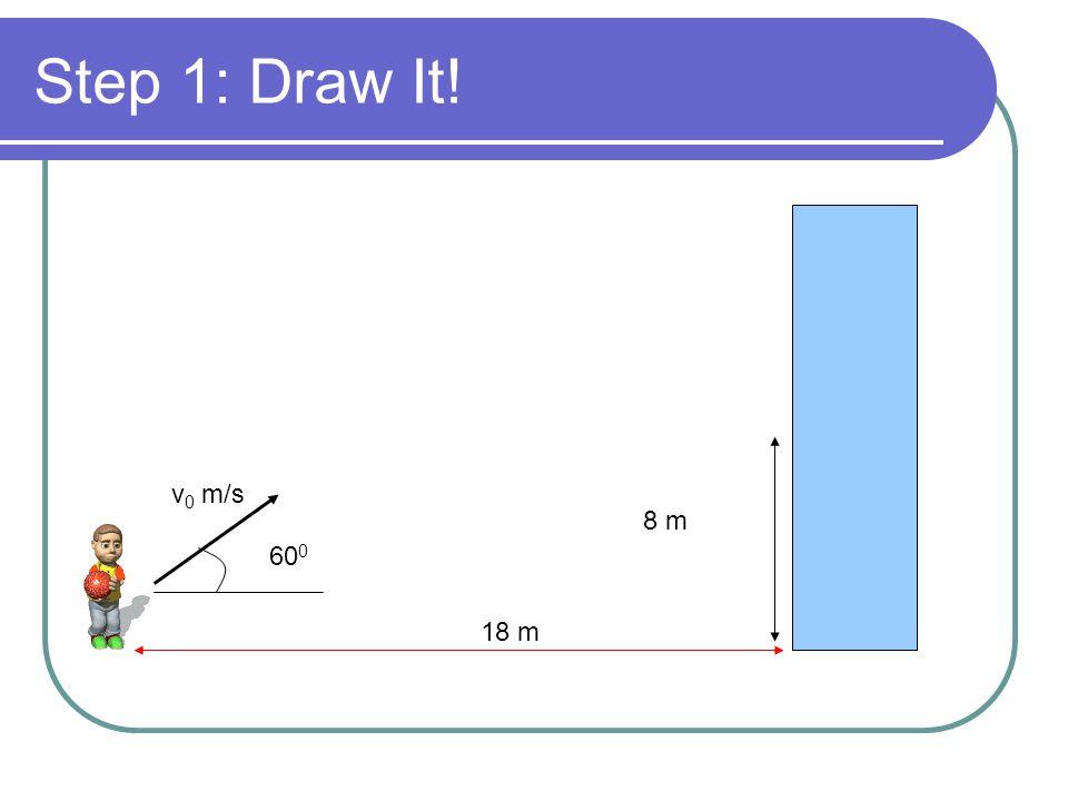 Step 1: Draw It! v0 m/s 8 m 600 18 m