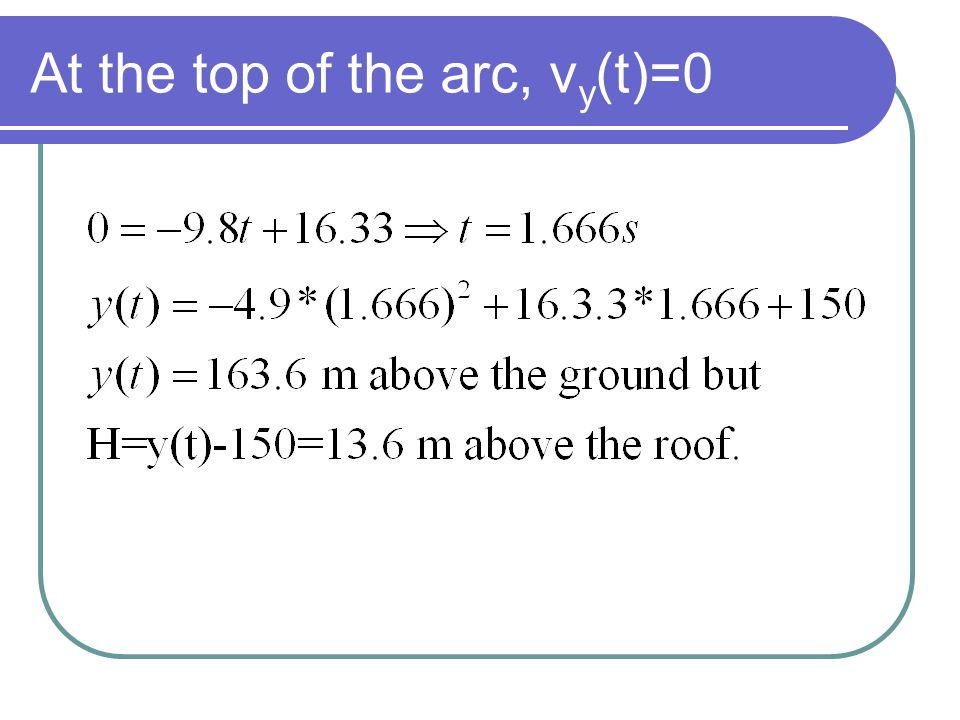 At the top of the arc, vy(t)=0