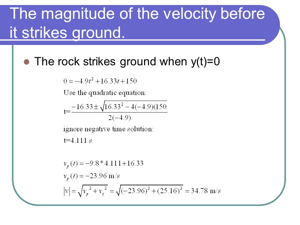 The magnitude of the velocity before it strikes ground.